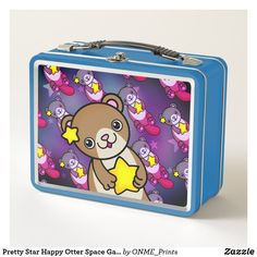 Shop Pretty Star Happy Otter Space Galaxy Cosmic Metal Lunch Box created by ONME_Prints.
