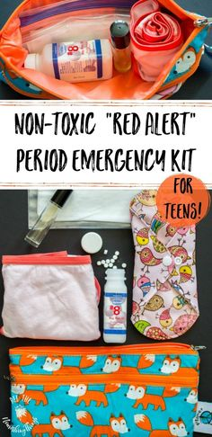 "Non-Toxic Period Emergency Kit For Teens (aka ""Red Alert"" Bag) Source by for teens Emergency Kit For Girls, Emergency Bag, Locker Emergency Kit, Family Emergency, New Dress For Girl, Dress Girl, First Period Kits, Period Party, Purse For Teens"