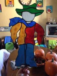 My stained glass scarecrow I made for our garden :)
