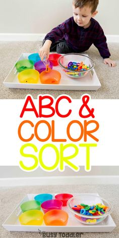 Looking for an easy learning activity? Check out this ABC Color Sort using alphabet magnets. A fun way to expose toddlers to letters from Busy Toddler. Color Sorting For Toddlers, Toddler Color Learning, Colors For Toddlers, Toddler Fun, Learning Colors, Childcare Activities, Toddler Learning Activities, Sorting Activities, Preschool Lessons