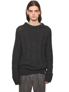VIVIENNE WESTWOOD Oversized Wool Blend Knit Sweater, Grey. #viviennewestwood #cloth #knitwear