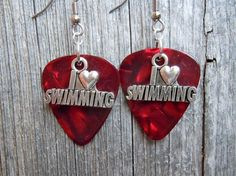 I Heart Swimming Charm Guitar Pick Earrings - Pick Your Color by ItsYourPick on Etsy