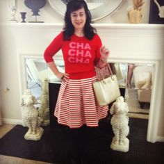 kate spade cha cha cha sweater sandee royalty hartley skirt in red and white stripe