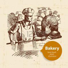 Panadero. Ilustración dibujado a mano. Foto de archivo.