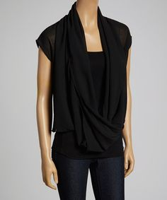 Another great find on #zulily! Black Sheer Drape Top by 3 Angels #zulilyfinds
