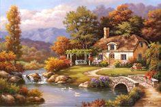 Cottage Stream by Sung Kim