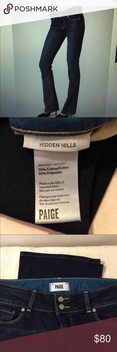 """Paige denim size 30/31 hidden hills. Size tag is missing. They are 30/31. Inseam is 30"""". These jeans are beautiful Paige Jeans Jeans Boot Cut"""