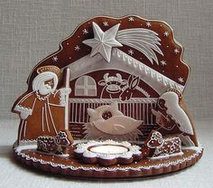 A gingerbread nativity!  Adorable!  Will someone please make one for our nativity show?  #nativity