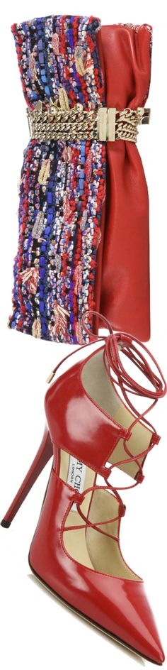 Jimmy Choo Hoops Lace-Up Leather Pumps and Jimmy Choo Chandra Multicolor Woven Textile & Leather Clutch