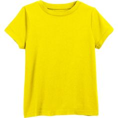 The Classic Tee ($7) ❤ liked on Polyvore featuring tops, t-shirts, short sleeve tops, yellow top, yellow t shirt, short sleeve tee and yellow tee