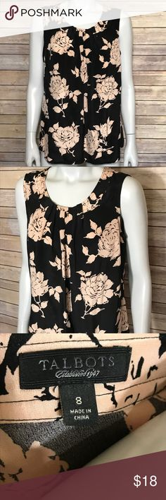 {talbots} black and peach sleeveless blouse Black silk pleated top with pastel orange colored flower pattern. So soft and pretty! Stylish floral shirt to layer for many occasions. Talbots Tops Blouses