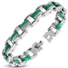 Stainless Steel With Green Rubber Mens Link Bracelet Bba482