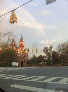 A rainbow over Samford Hall.