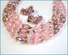 Pink Austrian Crystal Necklace w Earrings Signed WEISS 1950s Jewelry