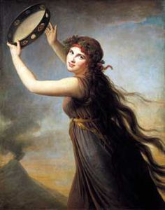 Once again, Vigee Lebrun paints the beauty Lady Hamilton, this time in the character of a bacchante. The volcano smoking in the background definitely sets the mood, or explains it; as we can read in Lebrun's memoirs, Lady Hamilton had many men 'hot under the collar' as it were. Occasionally LeBrun would allow them to observe the sitting, with artist and model at work.