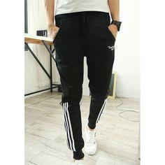 Slimming Trendy Lace-Up Stripes Print Elastic Cuffs Narrow Feet Men's Cotton Blend Harem Pants, BLACK, M in Pants | DressLily.com