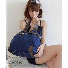 กระเป๋าสะพาย แฟชั่นเกาหลี แบบผ้าคานวาส ใบใหญ่ นำเข้า สีน้ำเงิน - พรีออเดอร์IS013