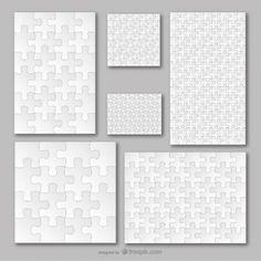 Puzzle template vector set