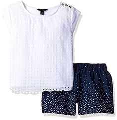 Nautica Big Girls Knit Top with Scallop Edge Detail and Dot Woven Short Set Sail White 7 -- You can find more details by visiting the image link.Note:It is affiliate link to Amazon.
