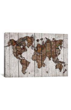 iCanvas 'Wood Map - Maximilian San' Giclée Print Canvas Art available at #Nordstrom