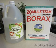 Two Ingredients to cleaner kitchen cabinets - Check out this all natural de-greaser 1/2 cup of borax + 1/2 cup white  vinegar