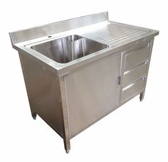 1.2M COMMERCIAL STAINLESS STEEL SINK WITH CUPBOARD AND DRAWERS RHD