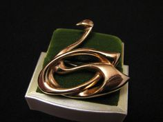 Vintage Krementz Gold Plated Swan Pin Brooch by ditbge on Etsy, $26.00