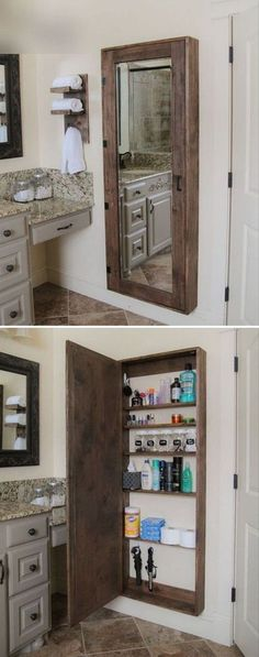 12 Unique Wall Mirror Designs To Decorate Your Home With 28 Bathroom Storage Ideas to Getting Clutter Away Bathroom Mirror Storage, Bathroom Mirrors, Bathroom Ideas, Wall Mirrors, Bathroom Beach, Pink Bathrooms, Bathroom Cost, Small Bathrooms, Bathroom Layout