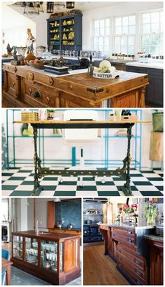 [orginial_title] – Restoring Our Victorian House Repurposed / Reclaimed / Nontraditional Kitchen Island. Inspiration for our DIY kitchen remodel… I love the idea of using salvaged or repurposed materials in place of a traditional kitchen island. Ikea Kitchen Remodel, White Kitchen Remodeling, Kitchen Designs Layout, Home Kitchens, Kitchen Remodel Small, Kitchen Design, Kitchen Remodeling Projects, Kitchen Remodel Cost, Traditional Kitchen Island