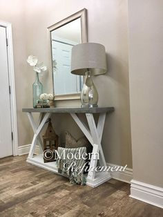 Cement top entryway table