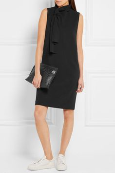 Black stretch-crepe  Concealed hook and zip fastening at back 51% viscose, 46% acetate, 3% elastane; lining: 94% cupro, 6% elastane Dry clean  Imported