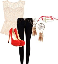 """""""INformal Formal laced"""" by mmguzman ❤ liked on Polyvore"""