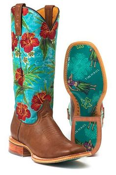 Tin Haul Women's Paradisiac Hula Girl Cowgirl Boots - HeadWest Outfitters
