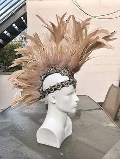 FREE SHIPPING Custom Feather Mohawk Headpiece. Burning Man.