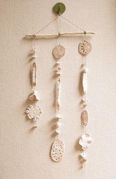 Pretty mobile from polymer clay, hemp, & a found twig  #DIY #Fimo
