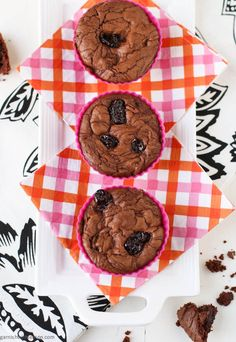 Chocolate Muffins with Dried Cherries | Garnish with Lemon