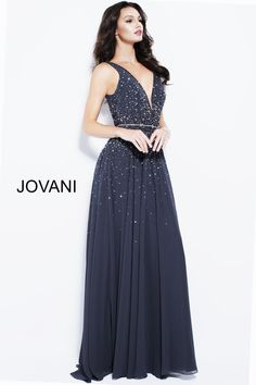 683c52d691 Style 55560 from Jovani is a sleeveless deep V neck chiffon gown with  scattered beading.