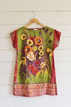 Upcycled Vintage Linen Tea Towel Tunic Dress XS Petite Womens Retro Flower Shabby Print Floral Batik Wax Print Red Mini Mod