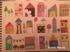 Happy Town by Ksenija Popović. #watercolors #watercolor #pens #washi #illustration #watercolorillustration #houses #whimsical #town #whimsicalart #art #artist #artjournal #artjournaling #mixedmedia