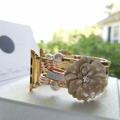 Looking for Rose Gold for your Apple Watch? Change out of your everyday band and try this beautifully designed gold tone with Rose Gold flower accented watch band. Hand crafted especially for you. Visit BerryBoutiqueDesign.Etsy.com