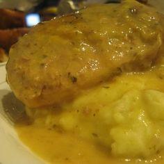 Ranch Crockpot Pork Chops with Roasted Garlic Mashed Potatoes