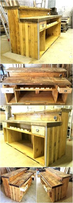 Wooden pallets work great when they are reused because they fulfill the requirements which demand a huge amount of money like the furniture for the restaurant. A person planning to open a restaurant … Pallet Bar Plans, Wooden Pallet Bar, Wooden Pallet Crafts, Wood Pallet Furniture, Diy Pallet Projects, Bar Furniture, Diy Wood, Cabinet Furniture, Pallet Ideas