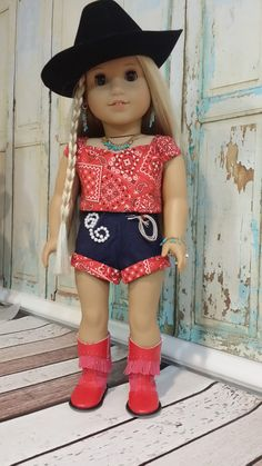 I'm a Little Bit Country red western bandana top and shorts outfit by TrendyWendysETC. Made using the Town and Country Set pattern. Find it at http://www.pixiefaire.com/products/town-and-country-set-18-doll-clothes. #pixiefaire #townandcountryset