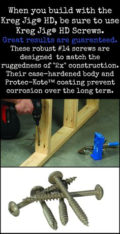 Screws for 2 x 4 construction -- Kreg Jig HD Screws