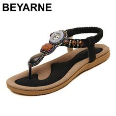 beee60a1742bb2 BEYARNE New Summer Flat Sandals Ladies Summer Bohemia Beach Flip Flops  Shoes Women Shoes Scarpe Donna