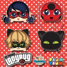 Miraculous Ladybug Tsum Tsum Characters, Chatnoir, Tikki & Plagg, Clip Art, PNG file, 300dpi de MommysEasyCrafts en Etsy
