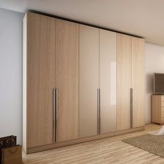 Furniture Bedroom Modern Cream Veneered Particleboard Es Funiture 6 Door Wardrobe Downtown Oak Vanilla And Stainless Steel Vertical Pull Out Knobs Wardrobe Designs, Popular Modern Wardrobe Armoire Designs: Bedroom, Furniture, Interior