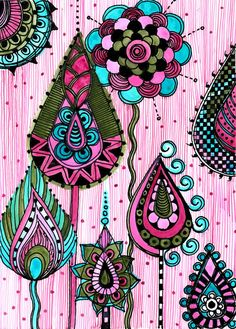 FINE ART PRINT pink blue green ink and acrylic by devikasart, $12.00