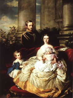 Emperor Frederick III of Germany, King of Prussia with his wife, Empress Victoria, and their children, Prince William and Princess Charlotte Artist: Franz Xaver Winterhalter Queen Victoria Children, Queen Victoria Family, Queen Victoria Prince Albert, Crown Princess Victoria, Victoria And Albert, Franz Xaver Winterhalter, Victoria's Children, Reine Victoria, Paris 13