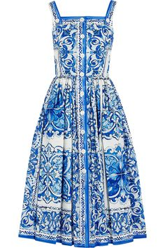 Dolce & Gabbana | Printed cotton-poplin midi dress
